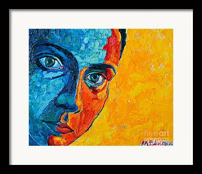 Light On Womans Face. Selfportrait Paintings Framed Prints