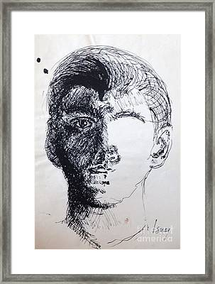 Framed Print featuring the drawing Self Portrait At 21 by Rod Ismay