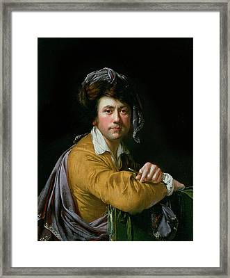 Self Portrait At The Age Of About Forty, C.1772-3 Framed Print by Joseph Wright of Derby