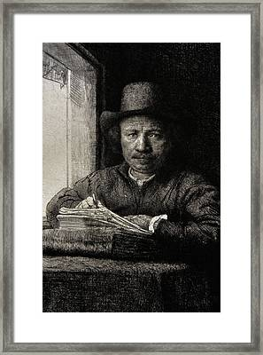 Self-portrait Etching At A Window Framed Print by Rembrandt
