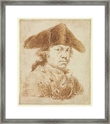 Self-portrait In A Cocked Hat Framed Print by Goya