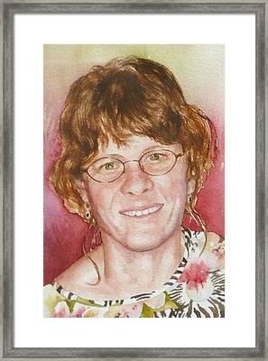 Self Portrait In A Flowered Shirt Framed Print by Anne Gifford