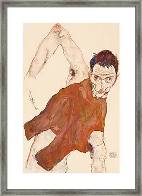 Self Portrait In A Jerkin With Right Elbow Raised Framed Print by Egon Schiele
