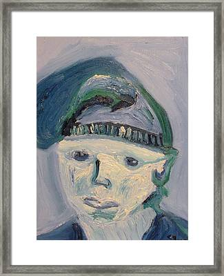 Self Portrait In Blue And Green Framed Print