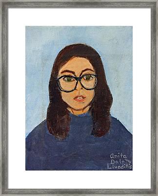 Self Portrait In Blues Framed Print by Anita Dale Livaditis