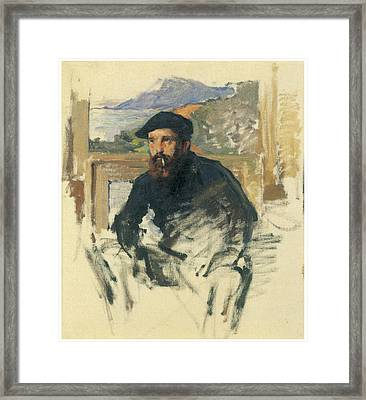 Self-portrait In His Atelier Framed Print by Claude Monet