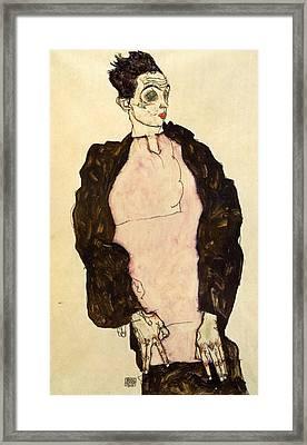 Self-portrait In Lilac Shirt Framed Print