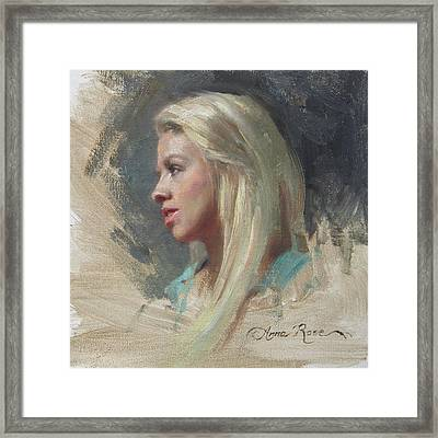 Self Portrait In Profile Framed Print by Anna Rose Bain
