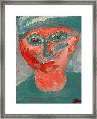 Self Portrait In Turquoise And Rose Framed Print by Shea Holliman