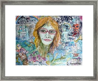 Self Portrait, I Survived Lung Cancer Survival Framed Print by Barb Greene mann