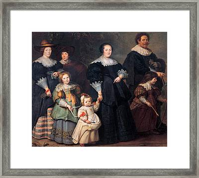Self-portrait Of The Artist With His Wife Suzanne Cock And Their Children Framed Print by Cornelis de Vos