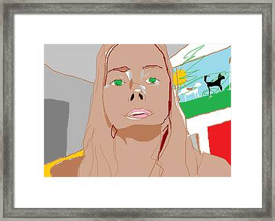 Self Portrait On Computer Framed Print