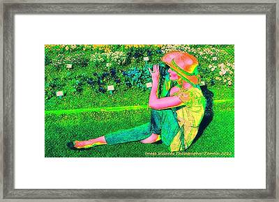 Self Portrait On The Arboretum Grounds In Spring Framed Print by ARTography by Pamela Smale Williams