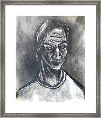 Framed Print featuring the drawing Self-portrait Wearing T-shirt - 1983 by Kenneth Agnello