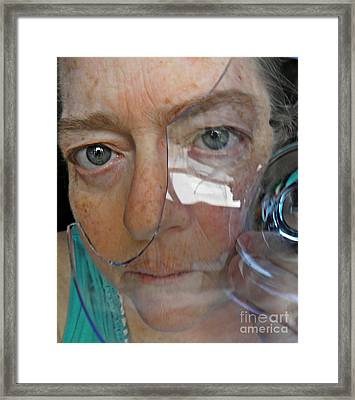 Self Portrait With Broken Glass Framed Print by Sarah Loft