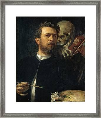 Self Portrait With Death Framed Print by Arnold Bocklin