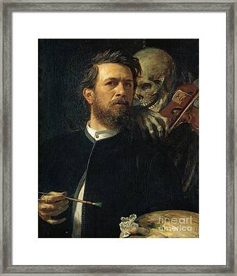Self-portrait With Death As A Fiddler Framed Print by Celestial Images
