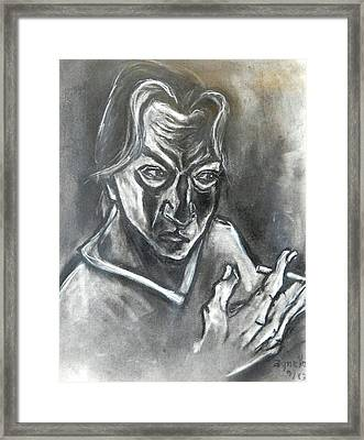 Framed Print featuring the drawing Self-portrait With Hand Holding Cigarette by Kenneth Agnello