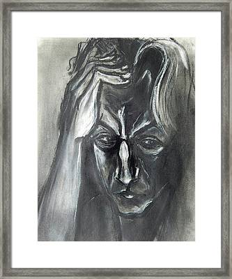 Framed Print featuring the drawing Self-portrait With Hand On Head - 1983 by Kenneth Agnello