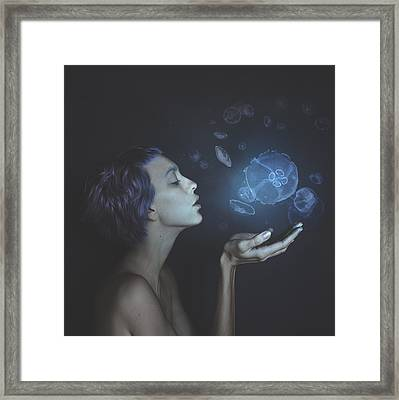 Self-portrait With Jellyfishes Framed Print