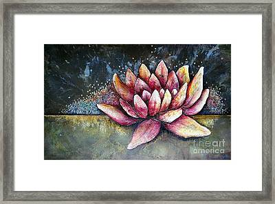 Self Portrait With Lotus Framed Print by Shadia Derbyshire