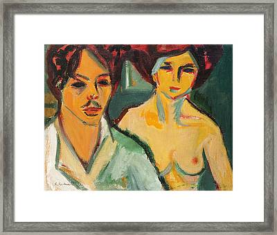 Self Portrait With Model Framed Print by Ernst Ludwig Kirchner
