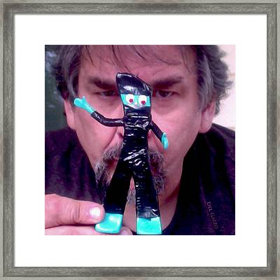 Self Portrait With Ninja Gumby Framed Print by Del Gaizo