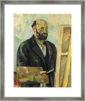 Self Portrait With Palette Framed Print by Paul Cezanne