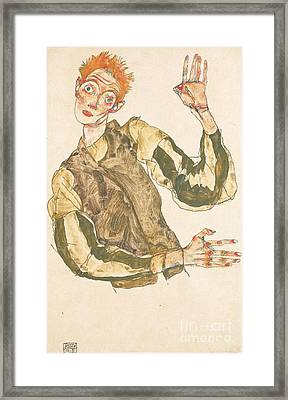 Self Portrait With Striped Armlets Framed Print by Pg Reproductions