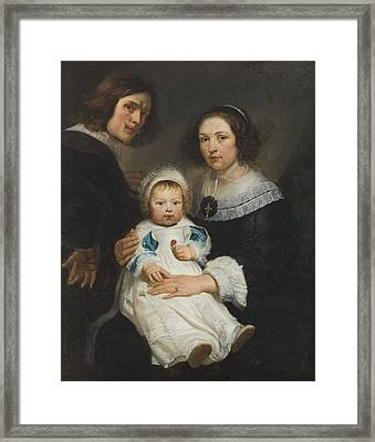 Self Portrait With Wife Catherine De Hemerlaer And Son Jan Erasmus Quellinus, 1635-36 Oil On Canvas Framed Print