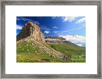 Framed Print featuring the photograph Sella Mountain And Pordoi Pass by Antonio Scarpi