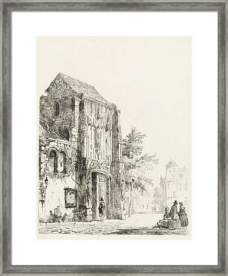 Sellers For A Church Portal, Cornelis Springer Framed Print by Quint Lox