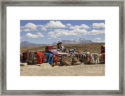 Selling Handicrafts In Peru Framed Print by Patricia Hofmeester