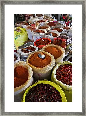 Selling Spices At The Market, Guilin Framed Print