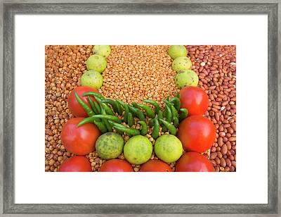 Selling Vegetables At The Market Framed Print by Keren Su