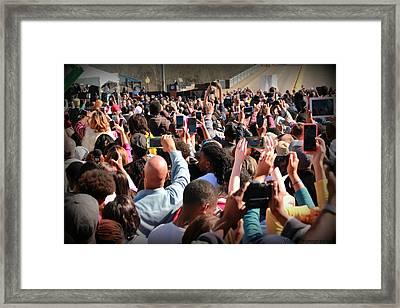 Selma 50th Anniversary - Crowd Photographs President Obama Framed Print by Tracy Brock