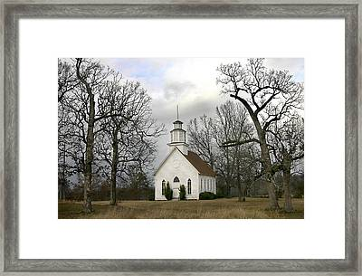 Framed Print featuring the photograph Selma United Methodist Church In Winter by Robert Camp