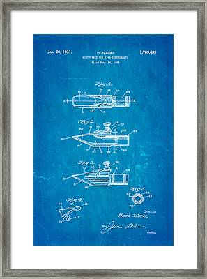 Selmer Mouthpiece For Wind Instruments Patent Art 1931 Blueprint Framed Print by Ian Monk