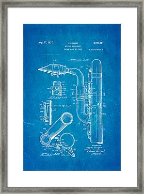 Selmer Saxophone Patent Art 2 1937 Blueprint Framed Print by Ian Monk