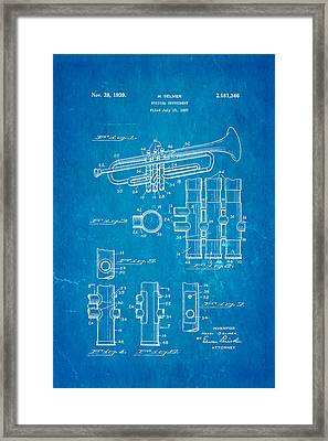 Selmer Trumpet Patent Art 1939 Blueprint Framed Print by Ian Monk