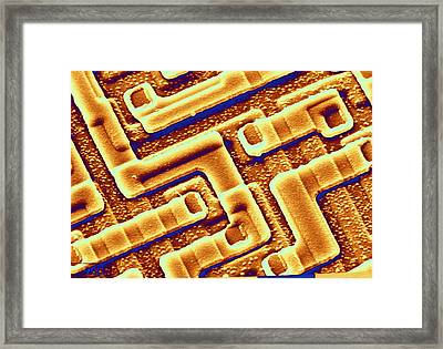 Sem Of The Surface Of An Integrated Chip Framed Print by Science Photo Library