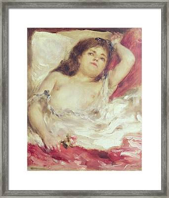 Semi-nude Woman In Bed The Rose Framed Print by Pierre Auguste Renoir