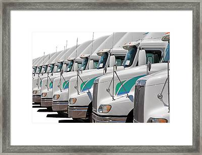 Semi Truck Fleet Framed Print by Gunter Nezhoda