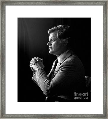 Framed Print featuring the photograph Senator Edward Ted Kennedy 1976 by Martin Konopacki Restoration