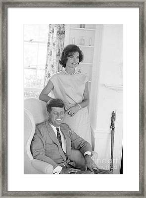 Senator John F. Kennedy And Jacqueline At Hyannis Port 1959 Framed Print by The Harrington Collection