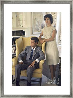 Senator John F. Kennedy With Jacqueline 1959 Framed Print by The Harrington Collection