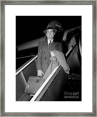 Framed Print featuring the photograph Senator Nixon 1952 by Martin Konopacki Restoration