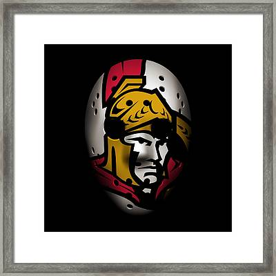 Senators Goalie Mask Framed Print by Joe Hamilton