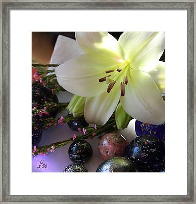 Framed Print featuring the photograph Send The Light Lily With Marbles by Bonnie Willis