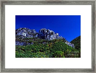 Seneca Rocks With The Gendarme Framed Print